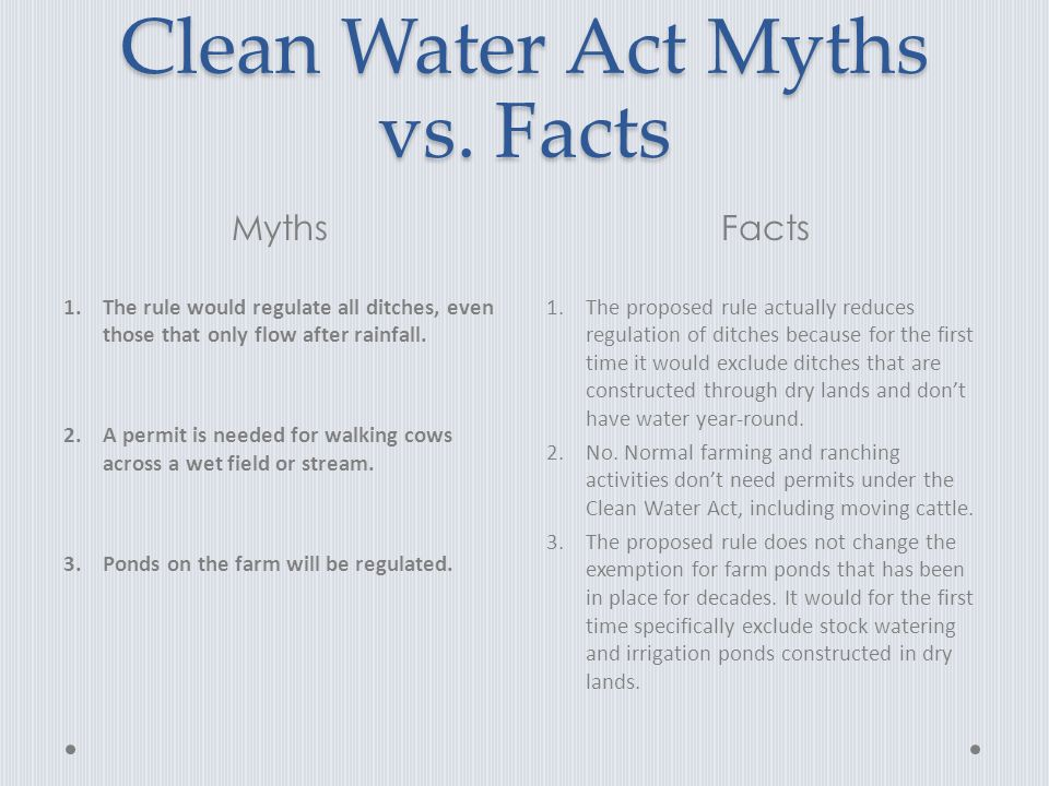 Clean Water Act Myths vs.