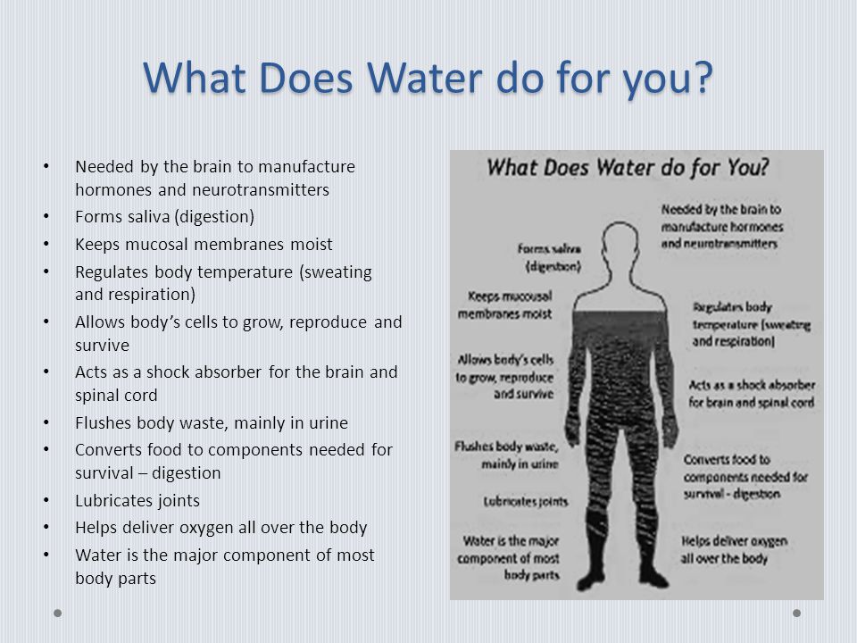 What Does Water do for you.