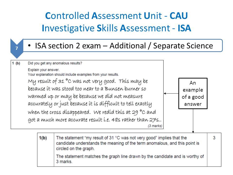Controlled Assessment Unit - CAU Investigative Skills Assessment