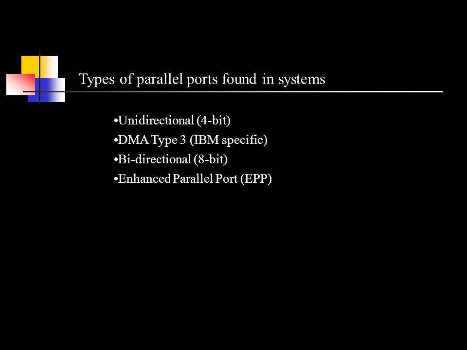14 Types Of Parallel Ports Found In Systems Unidirectional 4 Bit DMA Type 3 IBM Specific Bi Directional 8 Enhanced Port EPP