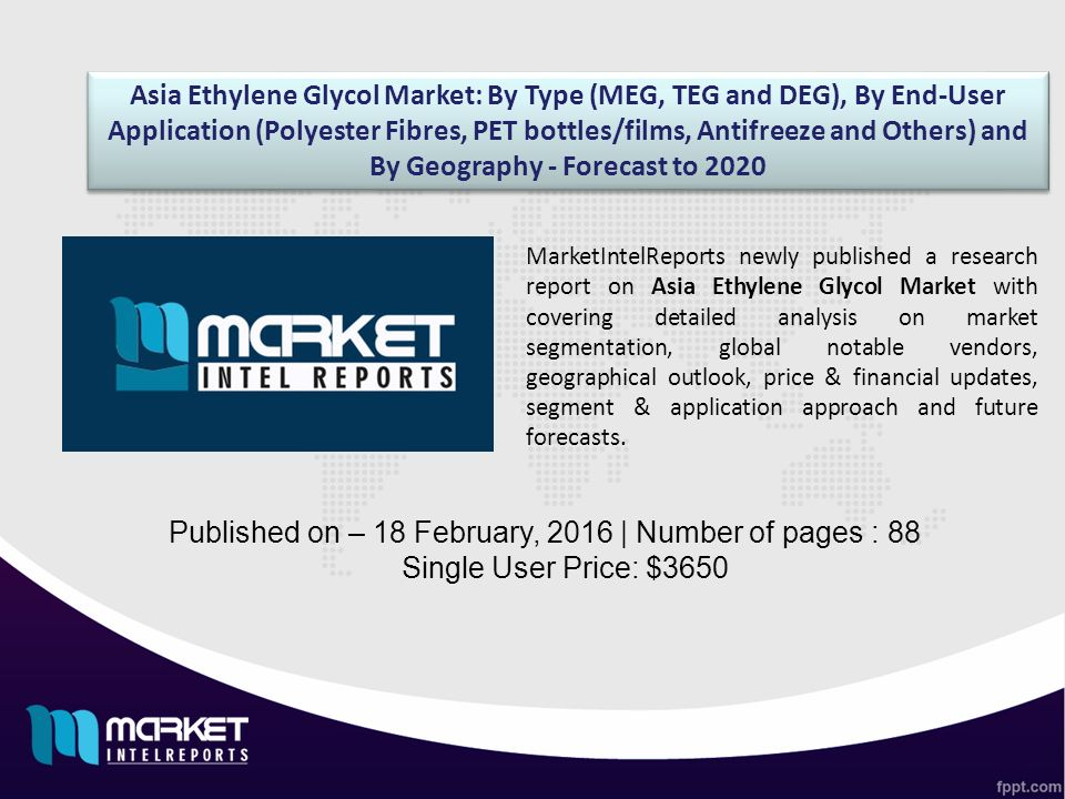 Asia Ethylene Glycol Market: By Type (MEG, TEG and DEG), By End-User