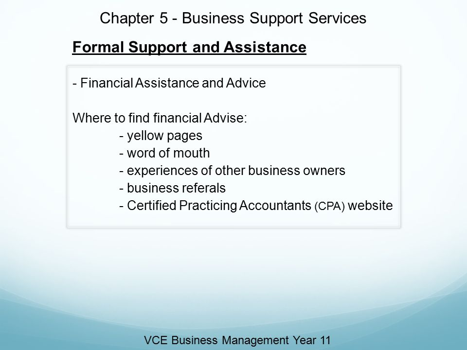 Chapter 5 - Business Support Services Informal support and