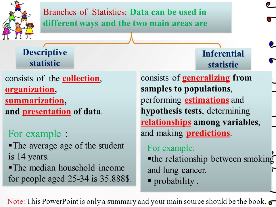 Welcome to Statistics World Note: This PowerPoint is only a summary