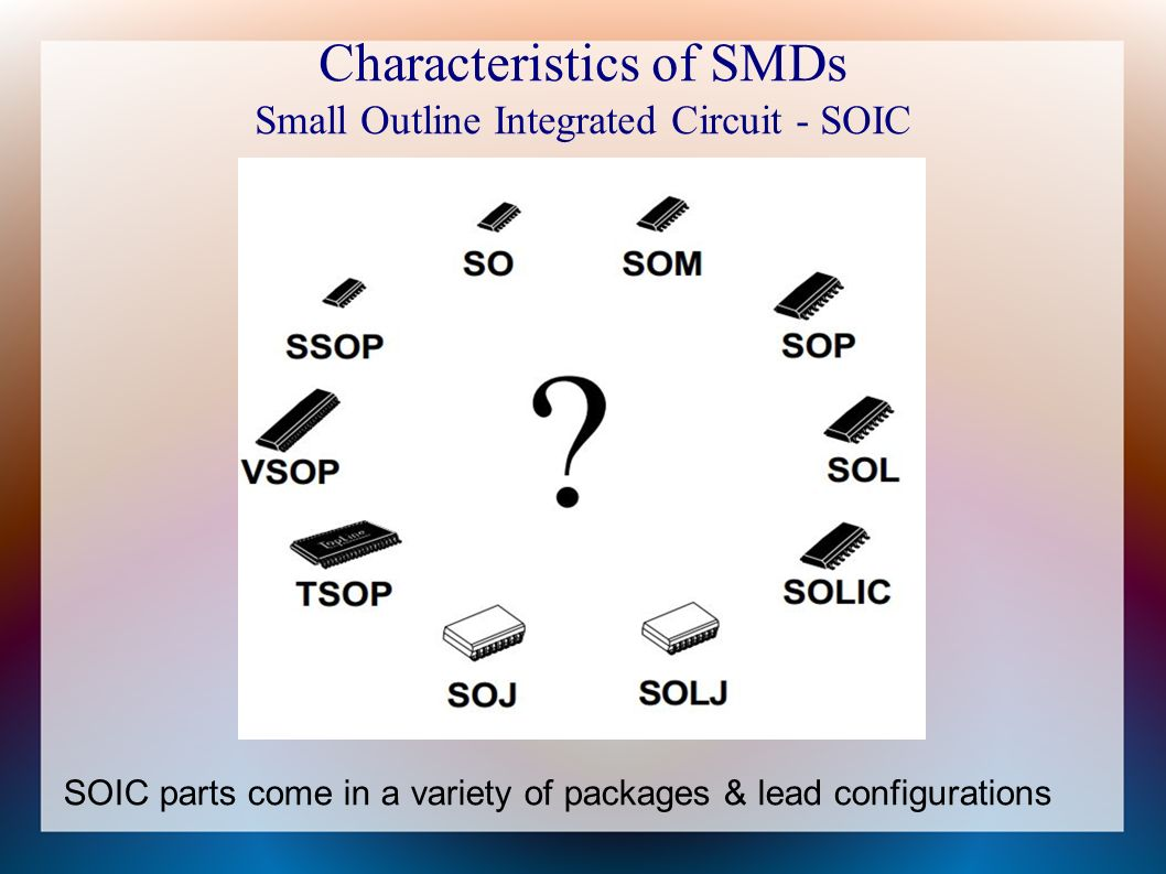 Smd Surface Mounted Devices For The Central Ohio Radio Enthusiast Small Outline Integrated Circuit 7 Characteristics Of Smds Soic Parts Come In A Variety Packages Lead Configurations