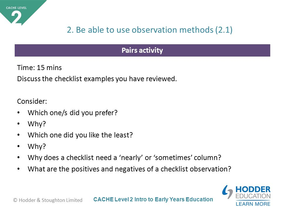 cache level 2 intro to early years education hodder stoughton limited pairs activity time
