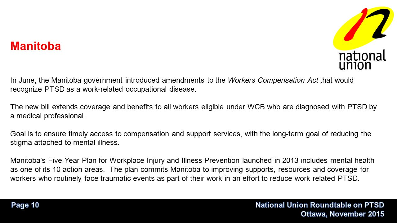PTSD & Workers' Compensation Across Canada  From 2013 report by WCB