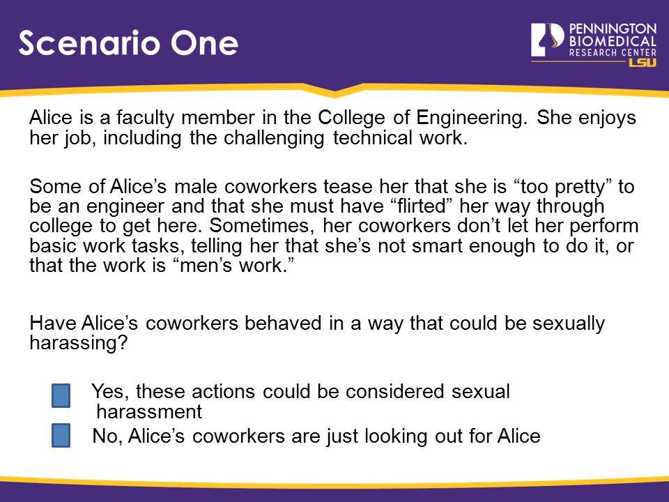 Sexual harassment scenarios in college