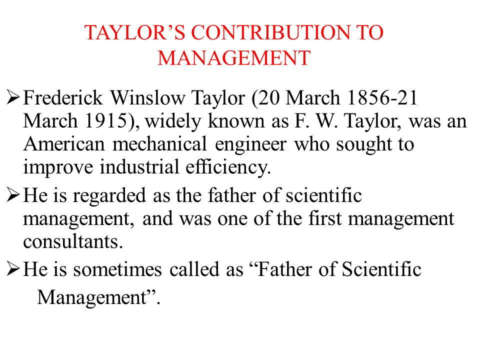 contribution of fw taylor to management