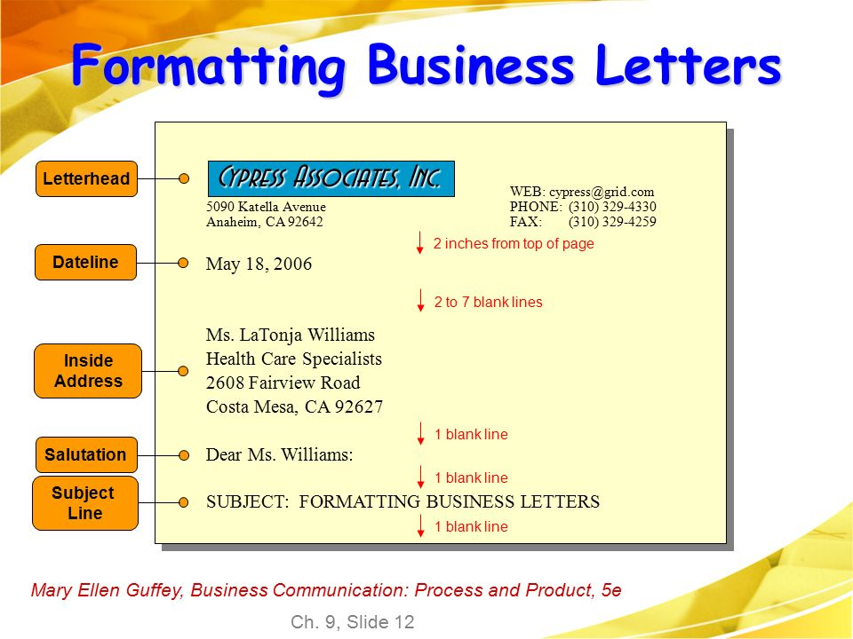 Business communication letter format image collections letter chapter 9 routine letters and goodwill messages mary ellen guffey spiritdancerdesigns Gallery