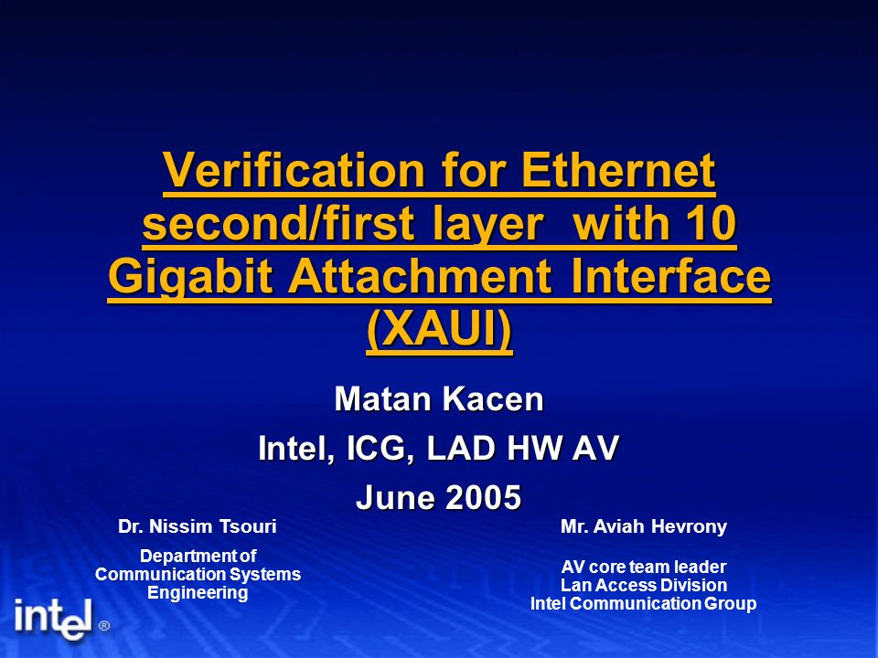 Verification for Ethernet second/first layer with 10 Gigabit