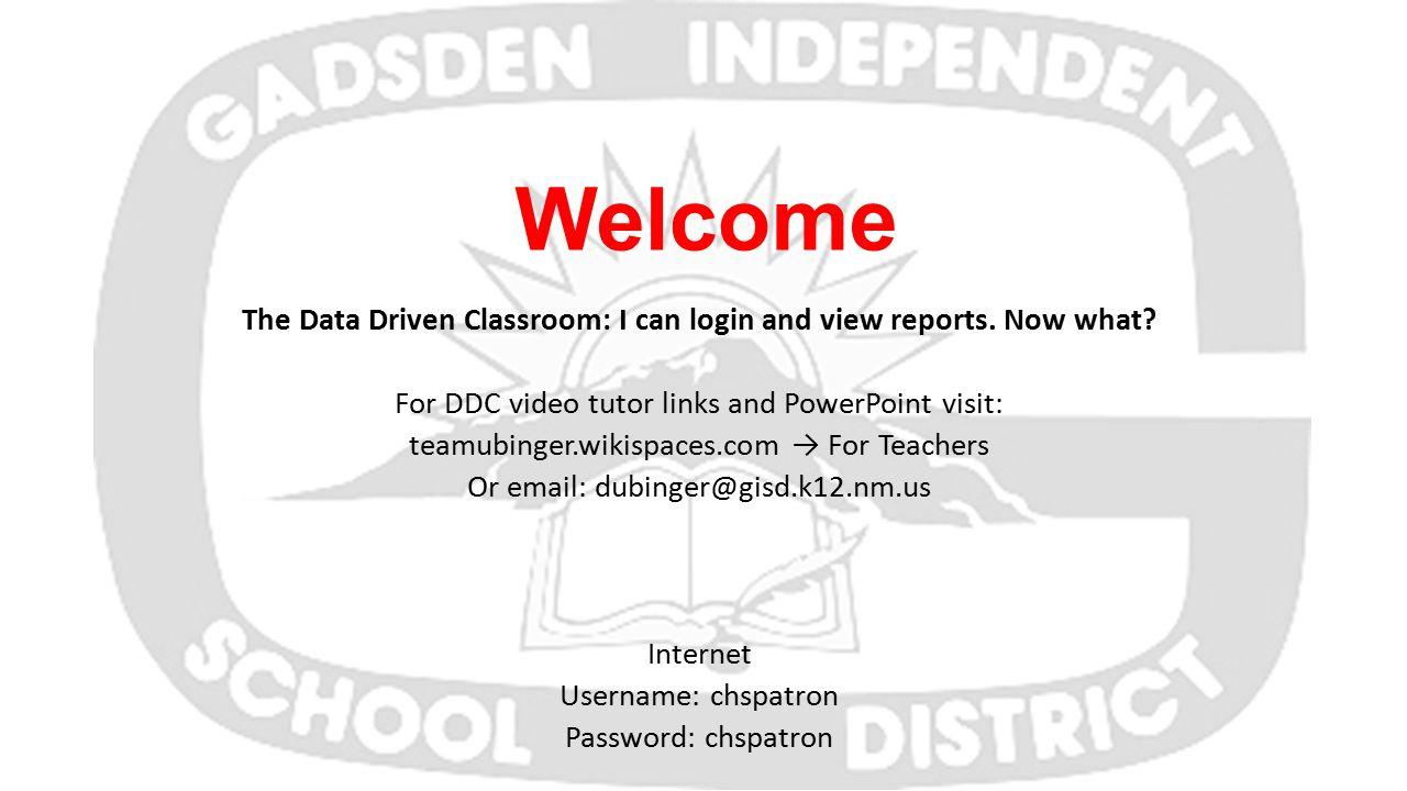 Welcome The Data Driven Classroom: I can login and view