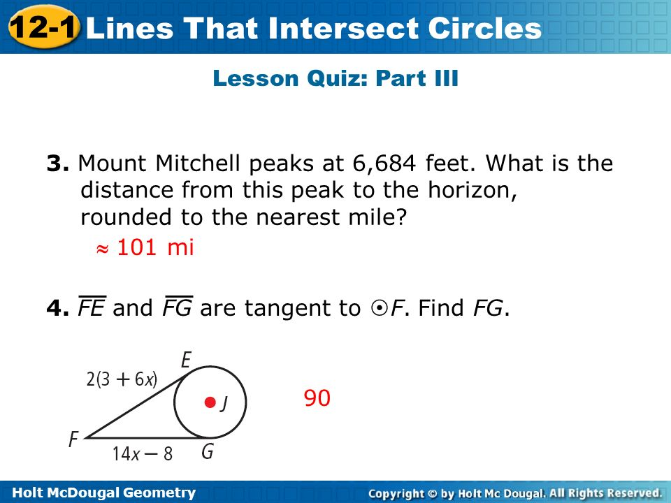 Holt McDougal Geometry 12 1 Lines That Intersect Circles 12