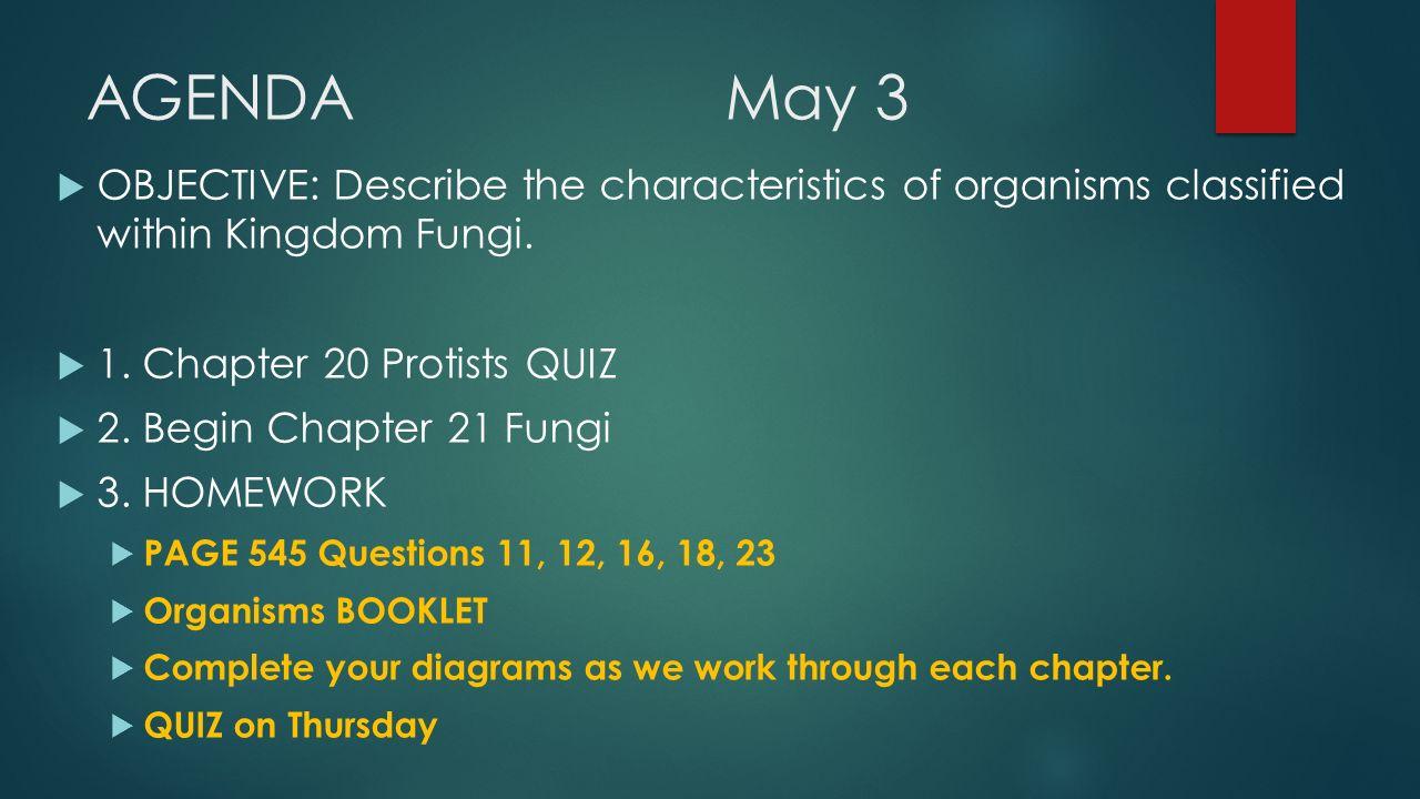 chapter 20 protists quiz 15 minutes agendamay 3 objective rh slideplayer com