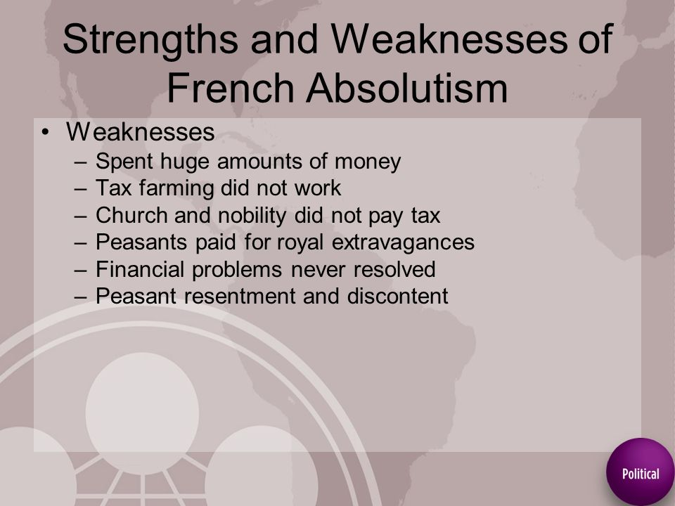 strengths and weaknesses of absolutism