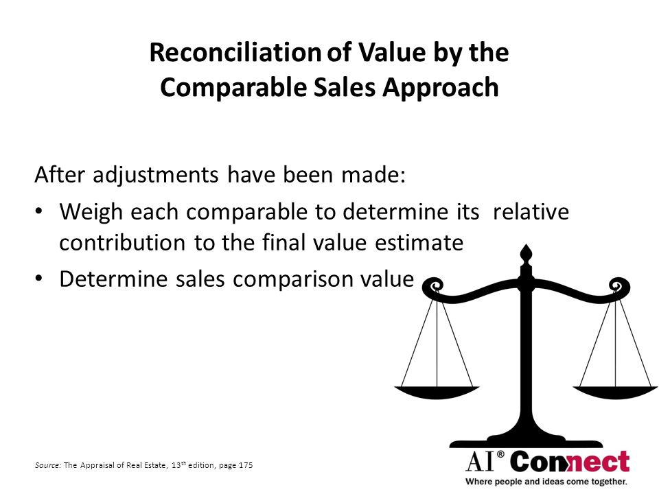 sales comparison approach sales difference approach Sales comparison approach the sales comparison approach is the most intuitive and best understood of the three approaches to value home buyers, companies renting office space and real estate investors all utilize this approach.