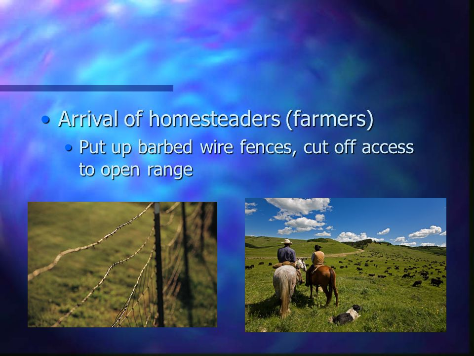 Arrival of homesteaders (farmers)Arrival of homesteaders (farmers) Put up barbed wire fences, cut off access to open rangePut up barbed wire fences, cut off access to open range