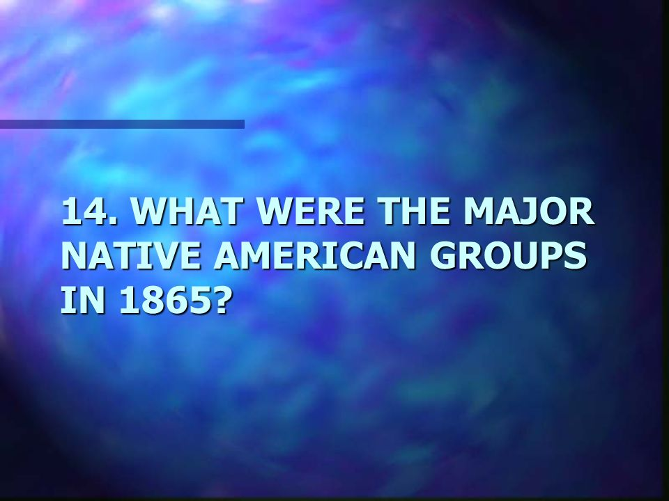 14. WHAT WERE THE MAJOR NATIVE AMERICAN GROUPS IN 1865