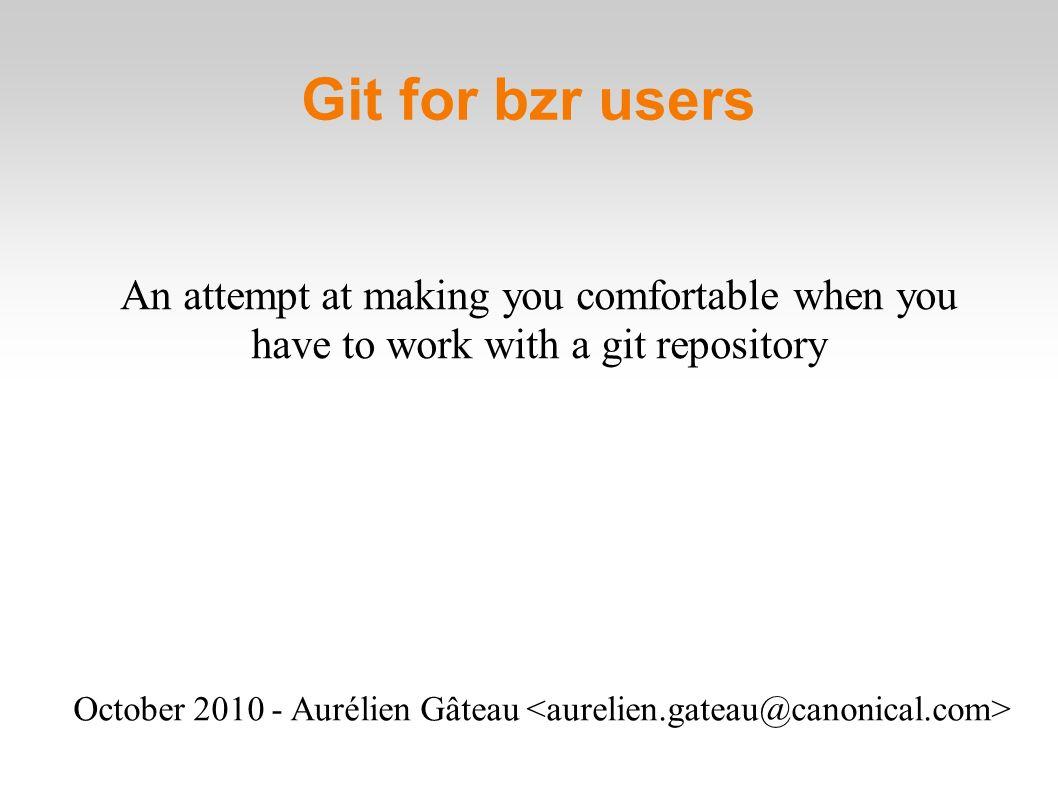 Git for bzr users October Aurélien Gâteau An attempt at
