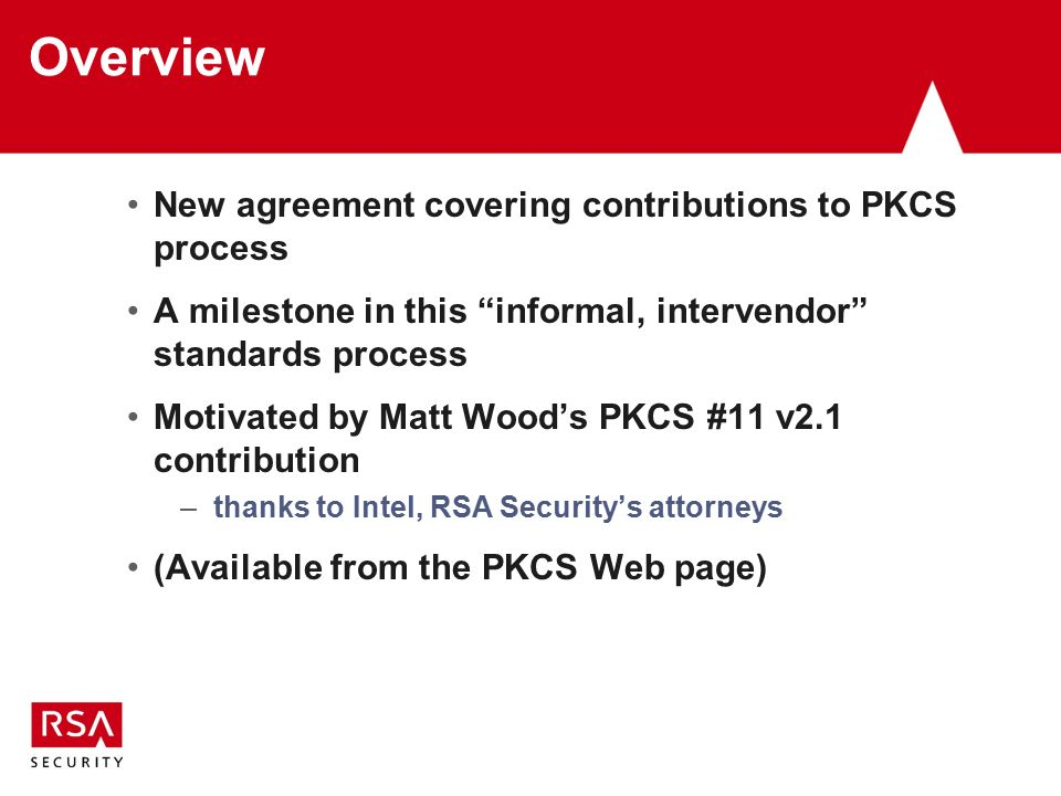 Pkcs Contribution Agreement Burt Kaliski Rsa Laboratories Pkcs