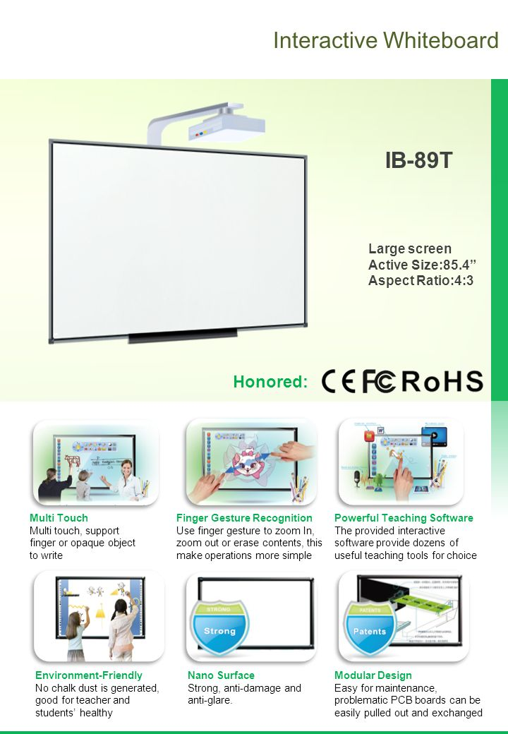 Interactive Whiteboard IB-89T Large screen Active Size:85 4