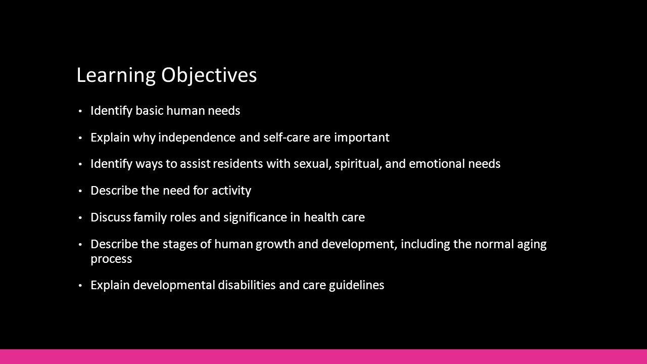 2 Learning Objectives Identify Basic Human Needs Explain