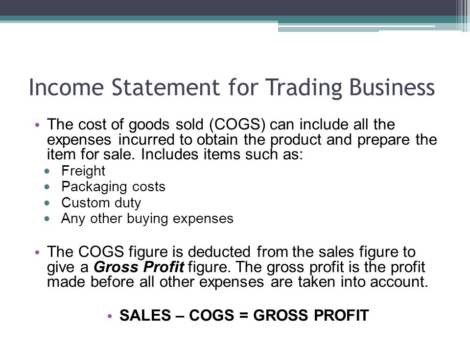 Income Statement Trading (Retail) Business  Income Statement for