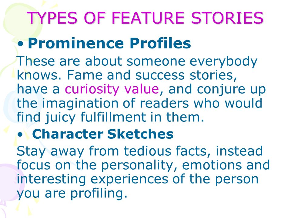 personality sketch feature article