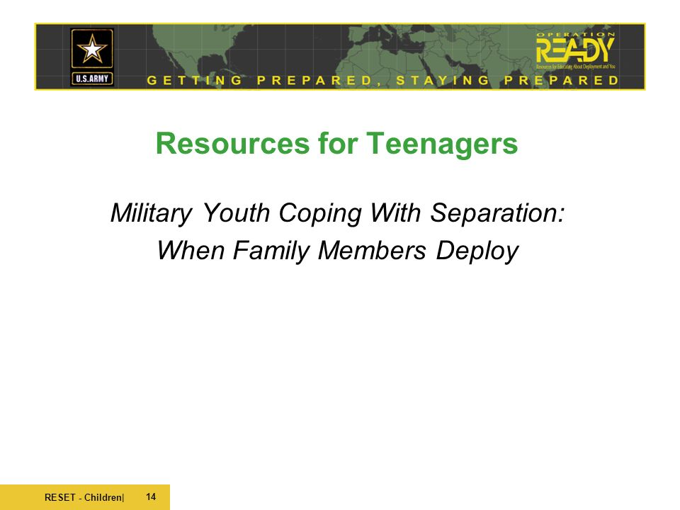 Military Youth Coping with Seperation : When Family Members Deploy