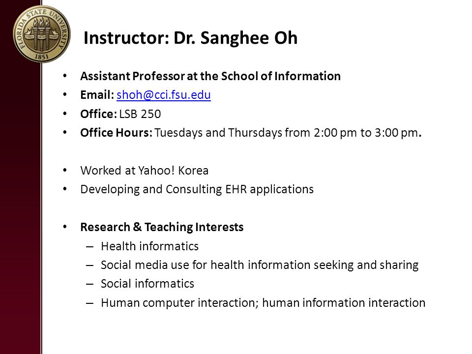 Course Overview LIS 4785 Introduction to Health Informatics
