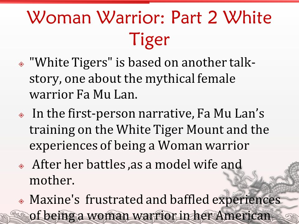 the woman warrior white tigers