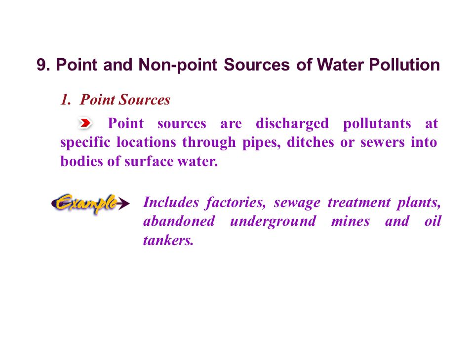 9. Point and Non-point Sources of Water Pollution 1.
