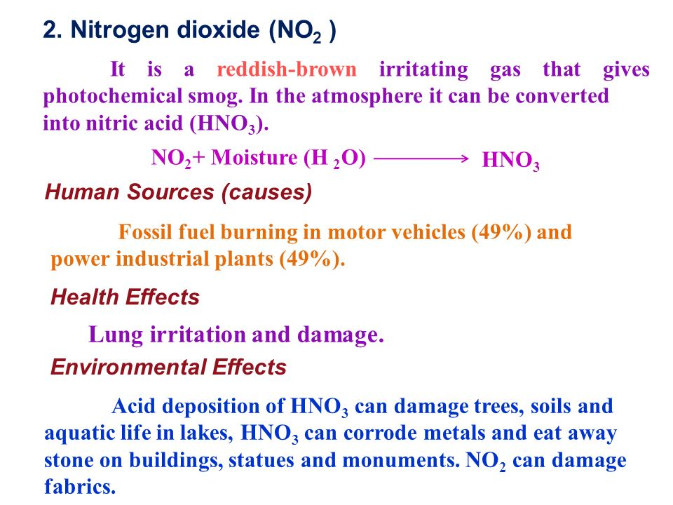 2. Nitrogen dioxide (NO 2 ) It is a reddish-brown irritating gas that gives photochemical smog.