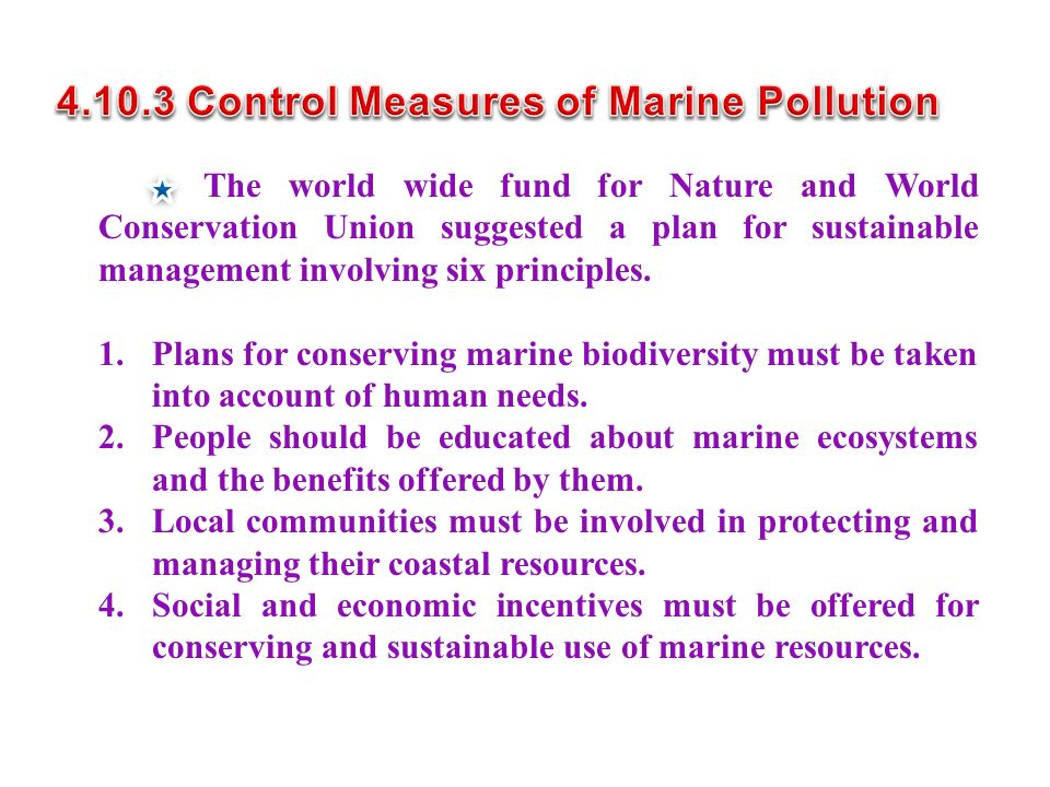 The world wide fund for Nature and World Conservation Union suggested a plan for sustainable management involving six principles.