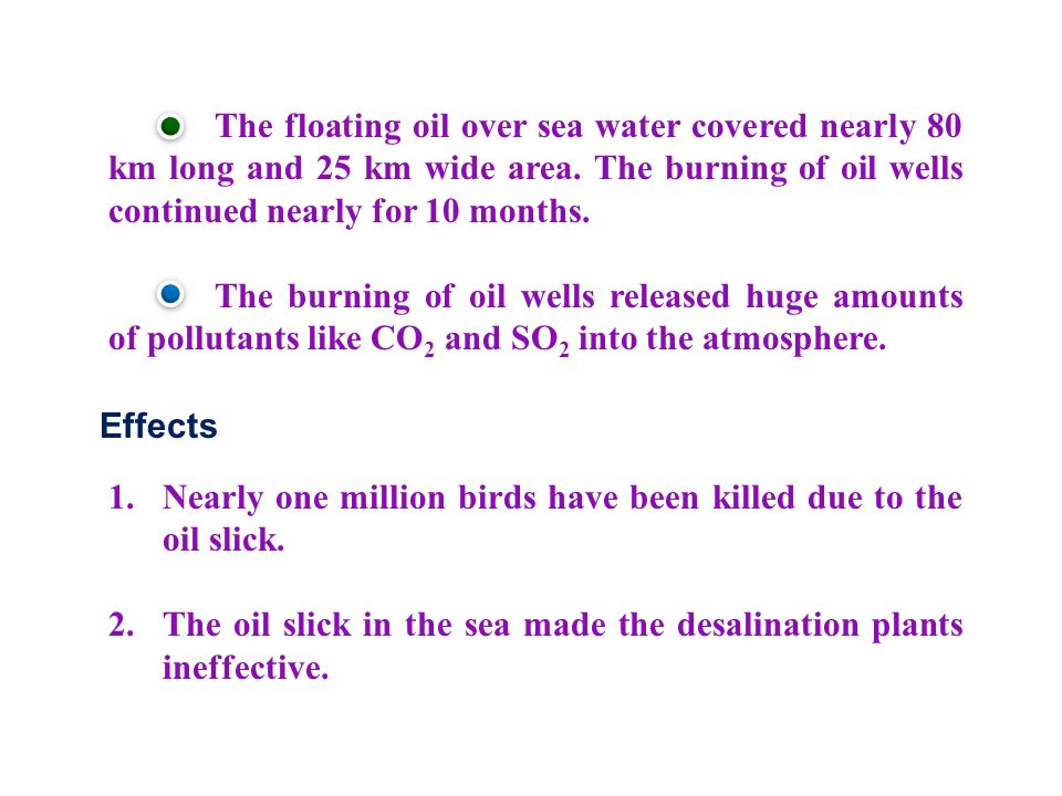 Effects 1.Nearly one million birds have been killed due to the oil slick.