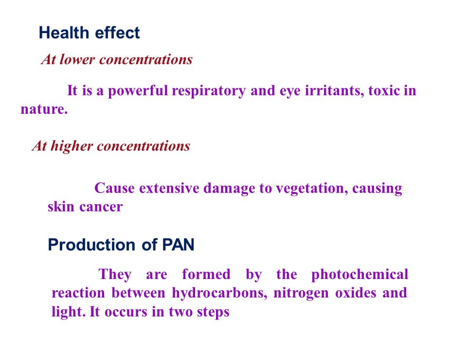 At higher concentrations Production of PAN They are formed by the photochemical reaction between hydrocarbons, nitrogen oxides and light.