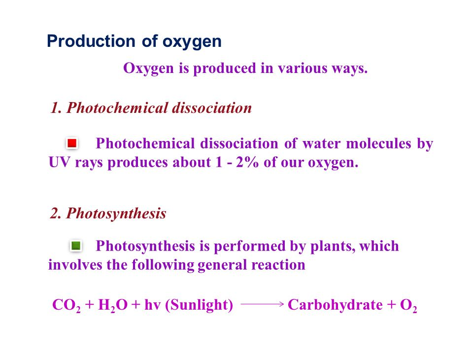 Production of oxygen Oxygen is produced in various ways.