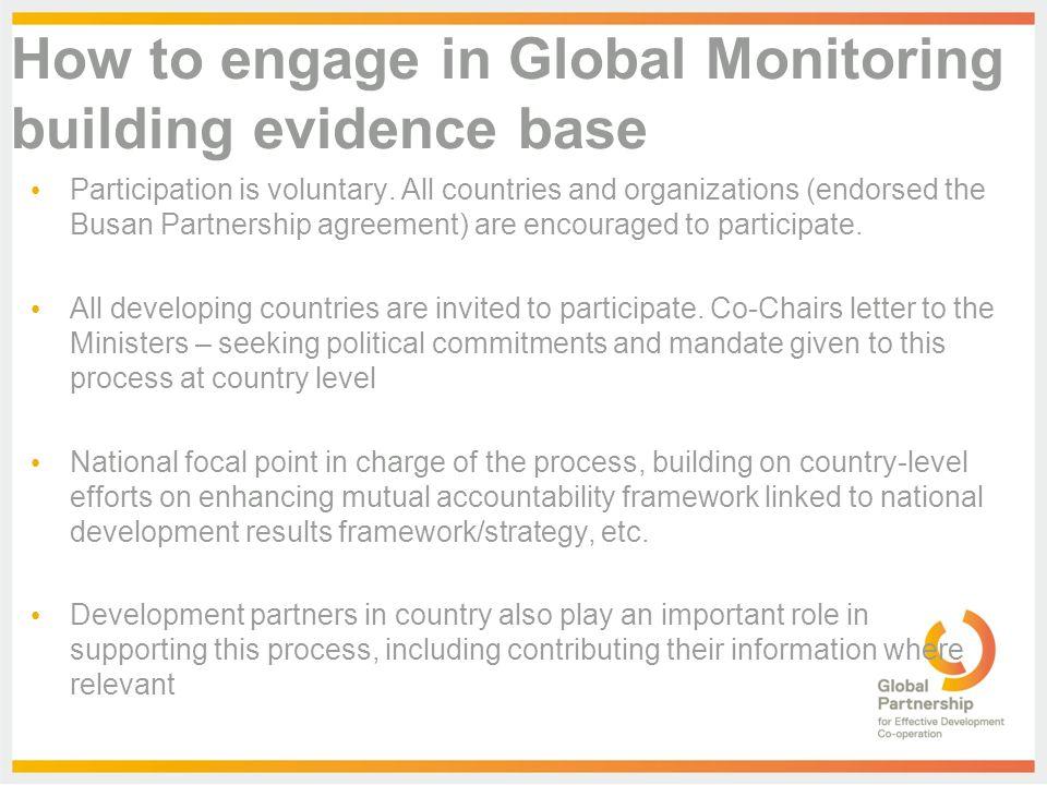 The Global Partnership Monitoring Framework Purpose And Scope Of
