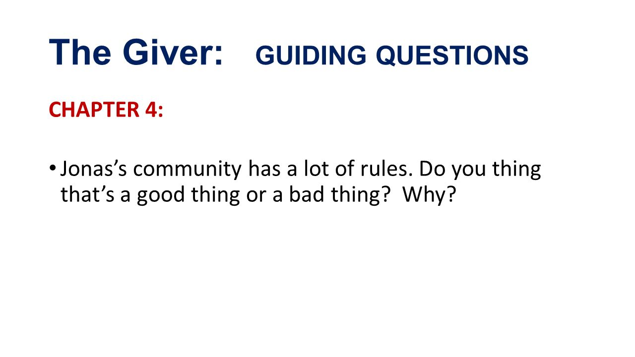 the giver study question chapters 1 13 This quick quiz will test your basic understanding of the events of chapters 1-3 of  novel  the giver  the giver, chapters 1-3  of questions:.