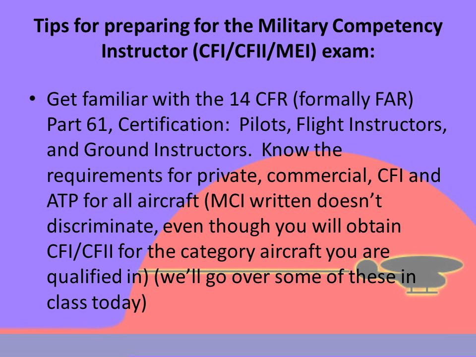 Military Competency Instructor CFI/CFII, courtesy of AirKirb - ppt