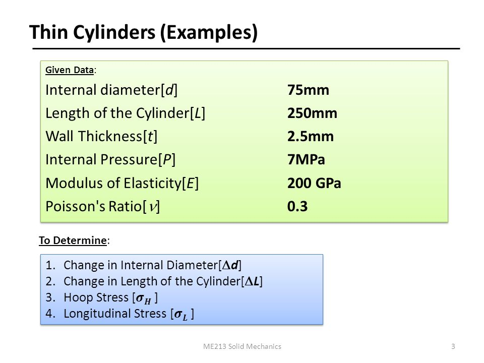 Solid Mechanics Course No  ME213  Thin Cylinders (Examples