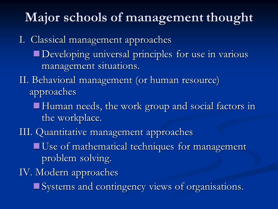 Presentation schools of management thought