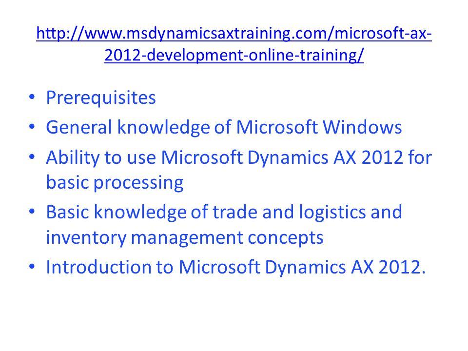 Microsoft Dynamics Ax Technical Training Dynamics Ax Functional