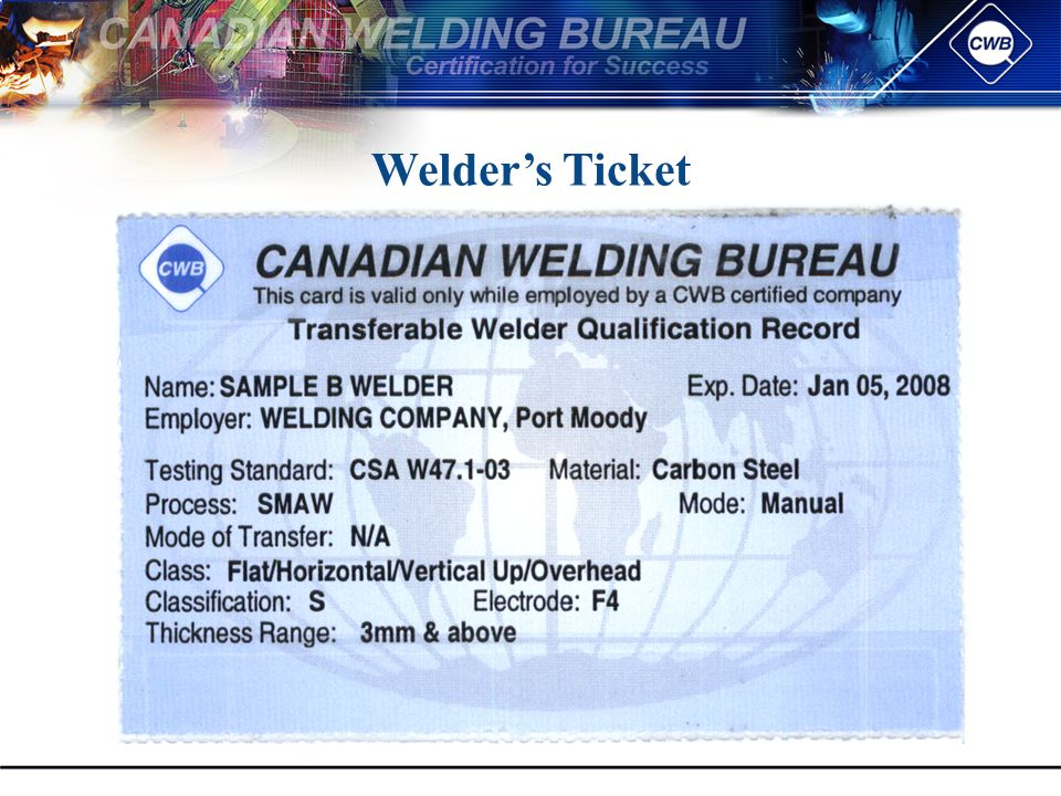 Canadian Welding Bureau Presentation To Acboa Topics To Be Covered