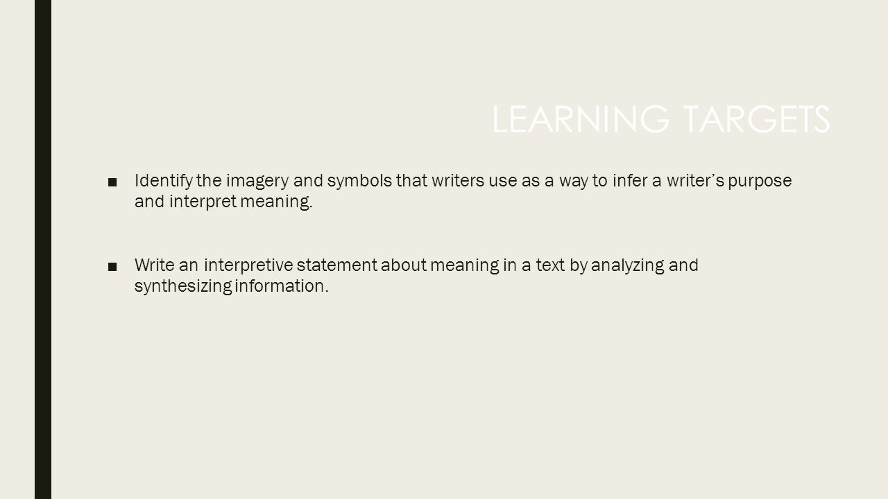 ACTIVITY 2 5 The Meaning of Imagery and Symbols  □Identify