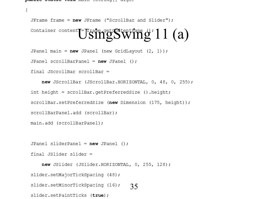 1 Structuri de Date în Java (X) ○ Buttons  Labels