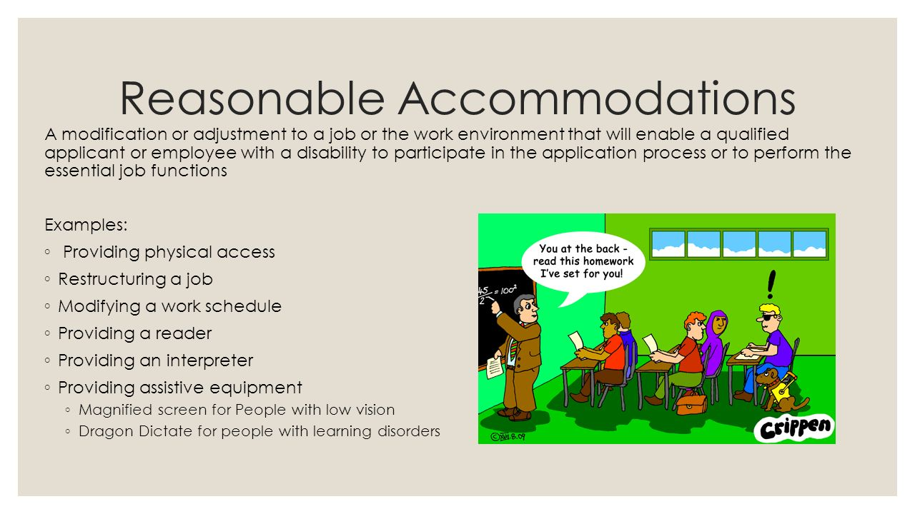 what is reasonable accommodation under ada essay Reasonable vs undue hardship  reasonable accommodation and undue hardship under the americans with disabilities act title i of the ada requires an employer to provide reasonable accommodation to qualified individuals with disabilities who are employees or applicants for employment, except when such accommodation would cause an undue hardship.