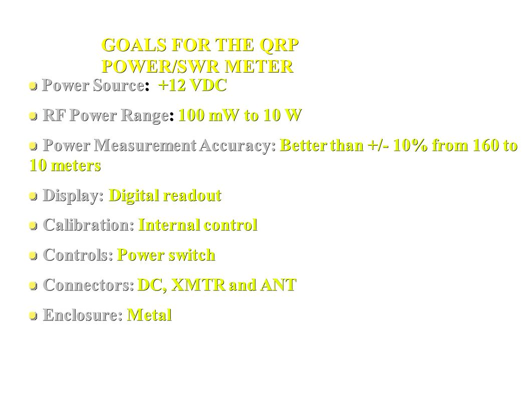 QRP POWER/SWR METER PROJECT – PART 1 Developed By Al Mecozzi