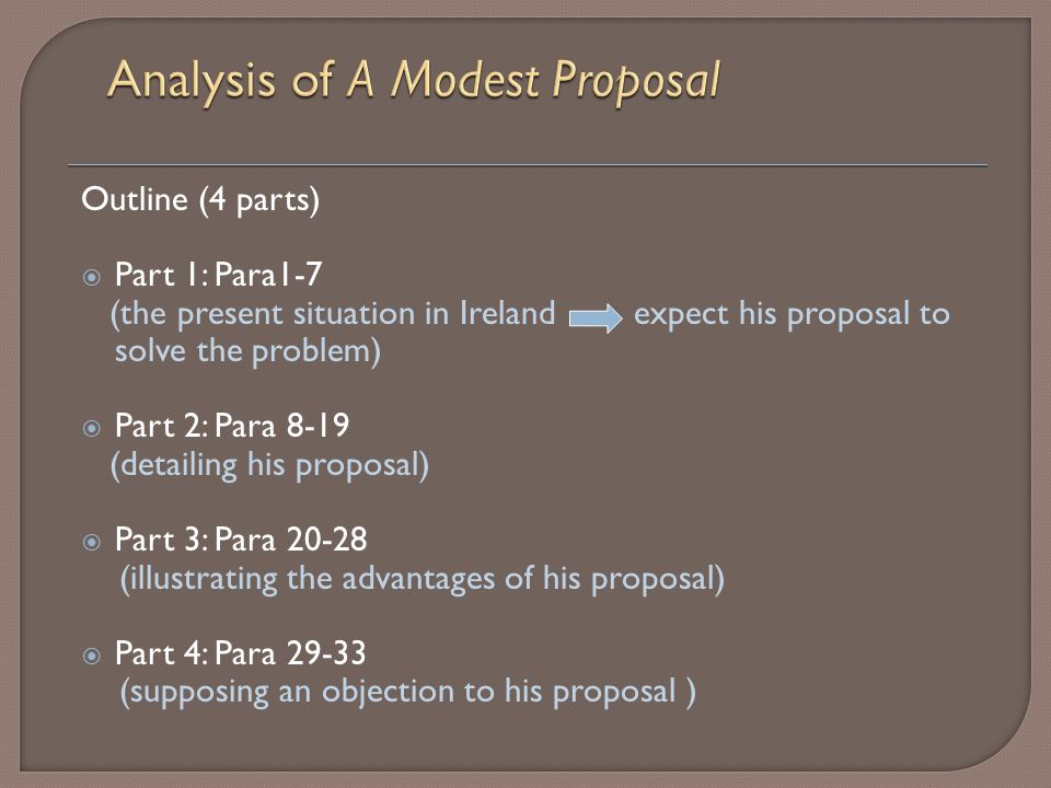 """on a modest proposal """"a modest proposal"""" is often hailed as one of the greatest examples of sustained irony in the english language swift accomplishes this by starting the piece highlighting the problem of starving families in ireland, and then proposing his solution."""