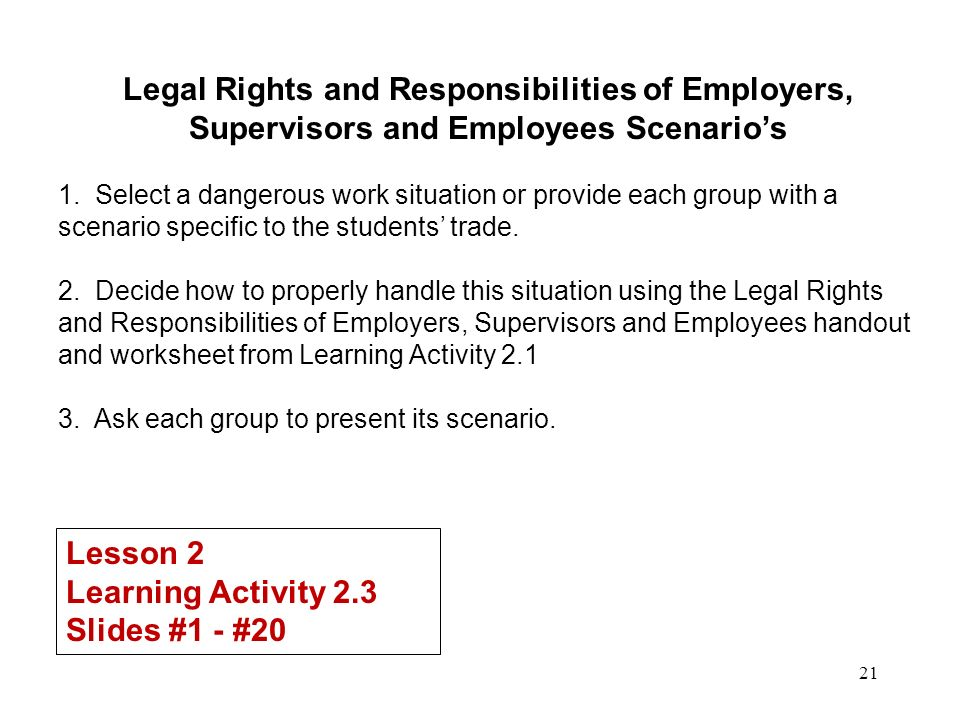 understand employment rights and responsibilites You should understand the laws as they pertain to these responsibilities when in question about a certain law or regulation, seek the advice of your company's legal department or consult a reputable business attorney of your choosing.