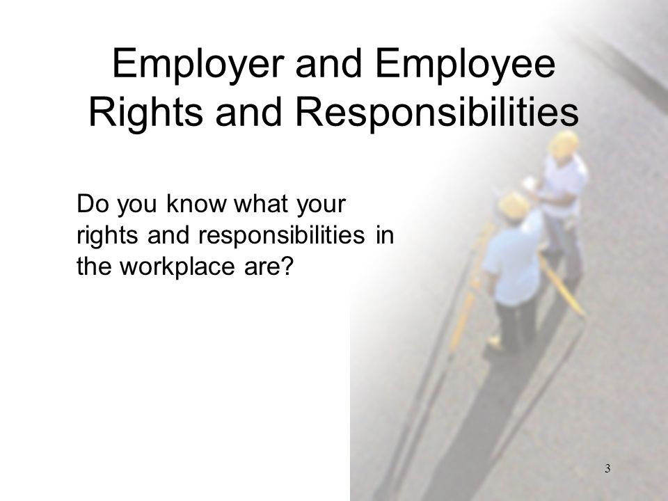 the rights and responsibilities of employers and employees essay Essays & papers employers rights and responsibilities essay - paper example employers rights and responsibilities essay in my employment, one law that covers employments is the working time regulation 1998 - employers rights and responsibilities essay introduction.